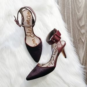 SAM EDELMAN Dark Red Okala Pointed Toe Heels